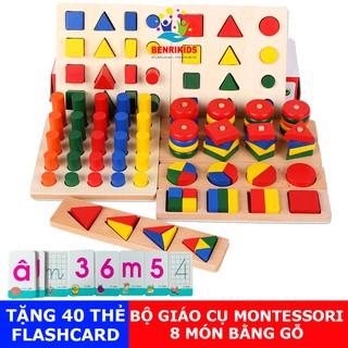 (Tặng 40 Thẻ Học Chữ Và Số)Đồ Chơi Giáo Cụ Montessori 8 Món Bằng Gỗ,Giáo Cụ Mầm Non