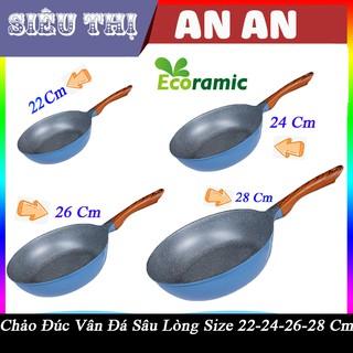 Chảo sứ ceramic ECORAMIC đáy từ vân đá chống dính 22 24 26 28 tay cầm chịu nhiệt chảo gốm sứ