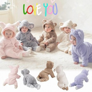 Áo liền quần chất liệu cotton có nón phối tay dài thiết kế hình động vật đáng yêu cho bé