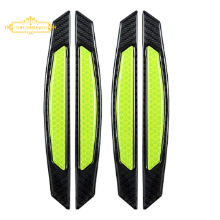''~''4Pcs Super Green Reflective Stickers Carbon Fiber Strips Car Side Door Edge Bumper Anti-Scratch Protection Guards Trim Stickers Universal