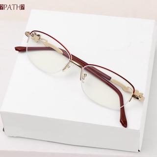 PATH Anti-fatigue Presbyopic Eyeglasses Radiation Protection Metal Frame Eyewear Anti Blue Light Reading Glasses Anti-UV Women Fashion Transparent Luxury Computer Goggles