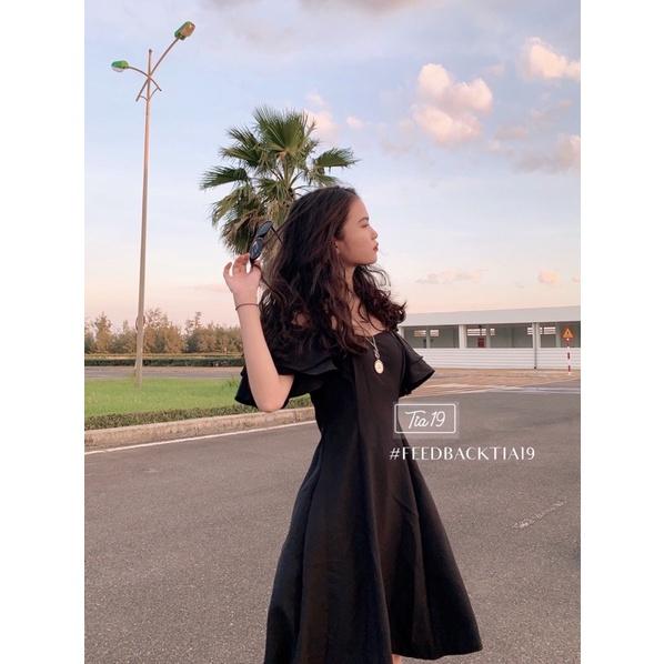 Mặc gì đẹp: Sang chảnh với  Váy trễ vai tay bèo Tia19. Đầm rớt vai dáng xoè dự tiệc ulzzang ( Ảnh thật)