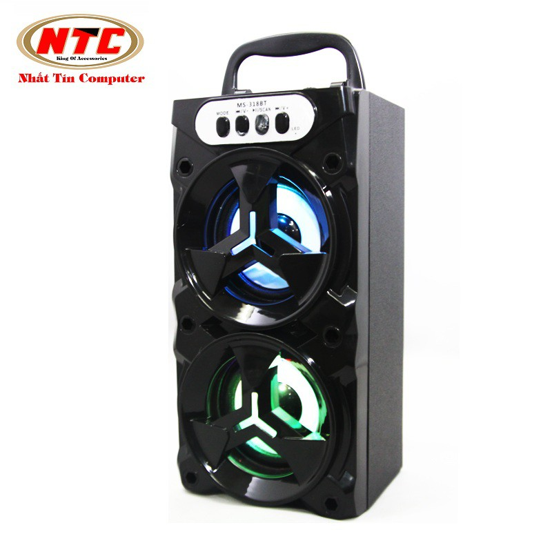Loa bluetooth xách tay đa năng NTC MS-318BT 8W - có đèn led (Đen)