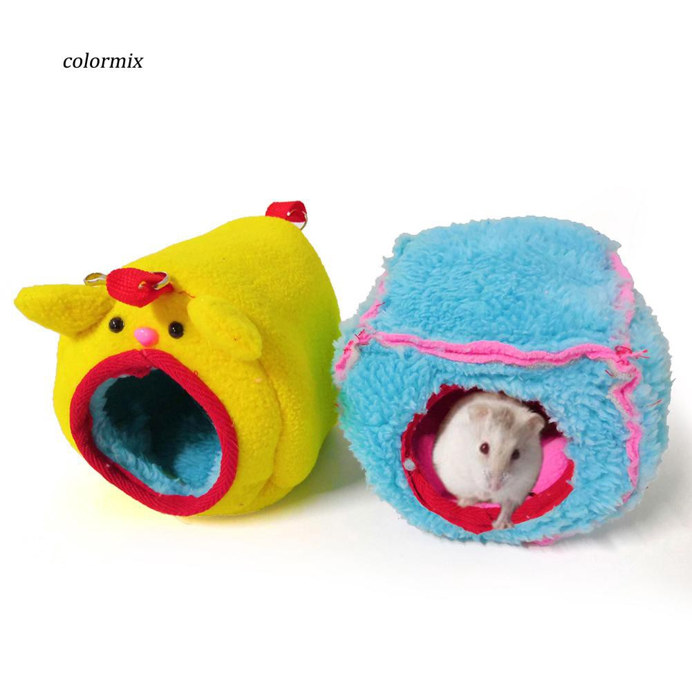 CLMX_Cute Plush Hole Hamster Squirrel Parrot Bird Warm Nest Hanging Hammock Bed House