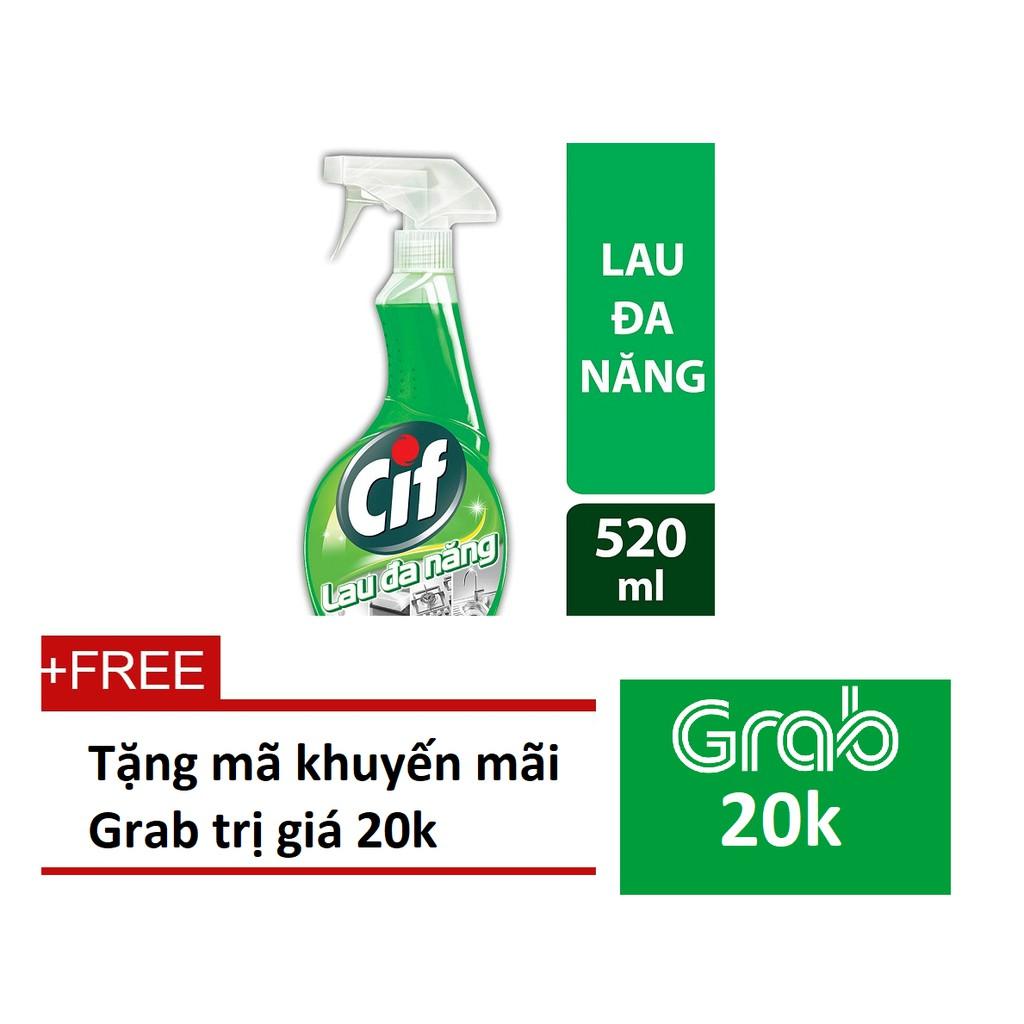 [QUÀ] Chai nước lau đa năng Cif 520ml (MSP 21091906)+ Tặng Grab code 20k
