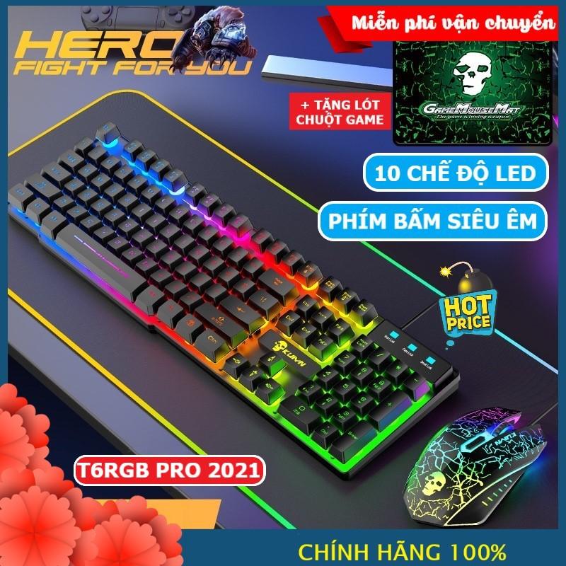 Bộ Bàn Phím Và Chuột Chơi Game Có 10 Chế Độ Led Khác Nhau T6RGB Super PRO 2021 Tương Thích Máy Tính PC Laptop