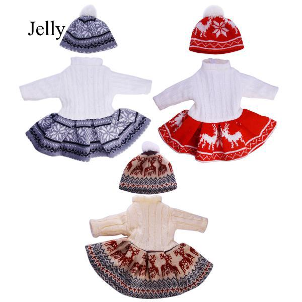 Doll Outfits Clothes Costume with Sweater Dress Hat for 18 inch American Girl J8