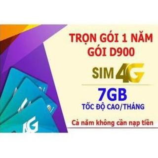 Sim 4G Viettel trọn gói 1 năm D900 7Gb/tháng