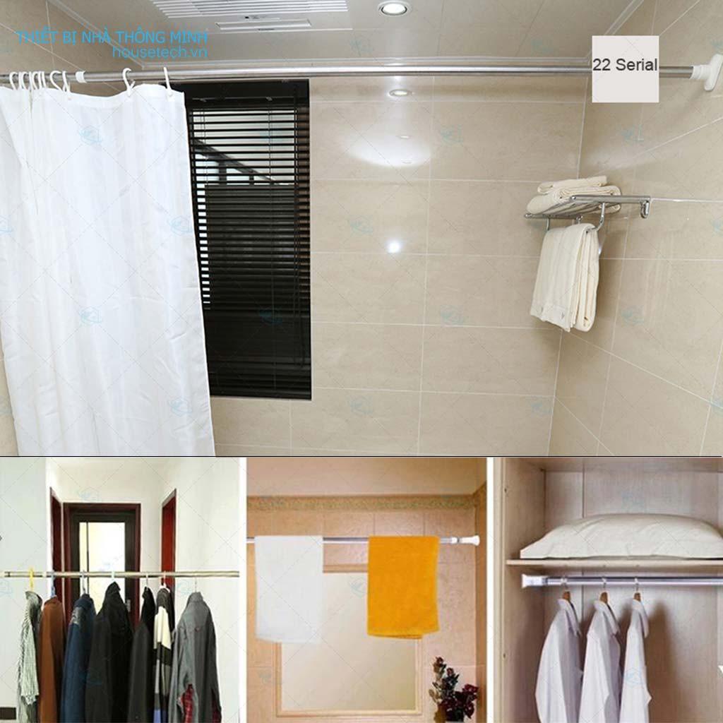 Combo thanh treo rèm cửa không cần khoan tường HT03 + 12 móc treo rèm