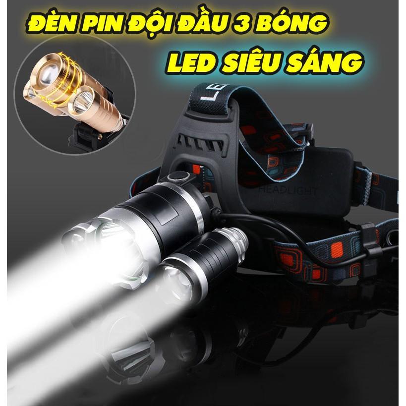 ✔️✔️ Đèn Pin Đội Đầu 3 Bóng Led T6- Siêu Sáng, Kèm 2 Pin, Kèm Sạc