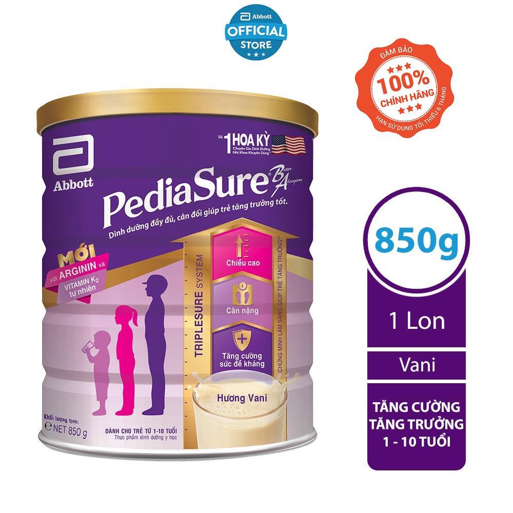 [Nhập 1111BATNGOSHOPEE -30K] Sữa bột Pediasure 850g hương vani mẫu mới