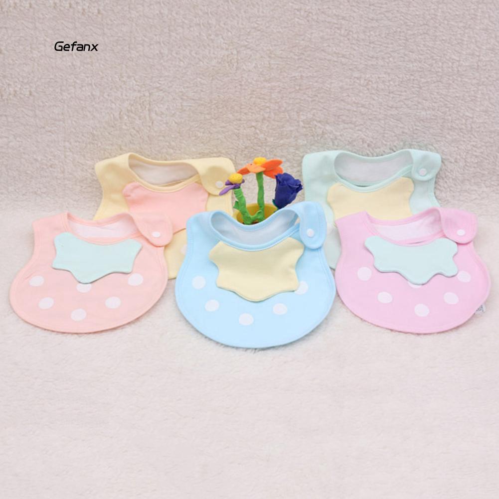GEFX_Newborn Infant Baby Feeding Bib Dots Soft Cotton Double Layer Snap On Towel