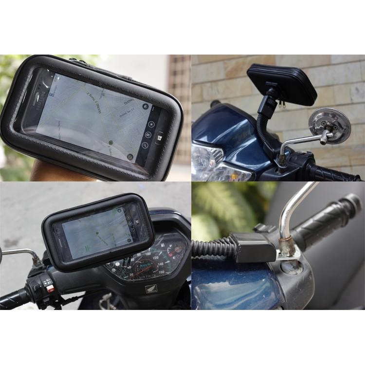 Giá đỡ điện thoại chống nước trên xe máy có bao chống nước có 3 size