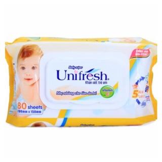 Khăn ướt Unifresh Không Mùi Vitamin E 80M