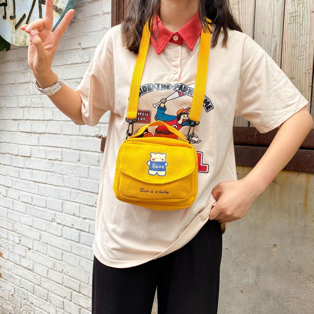 Túi vải mini đeo chéo, túi canvas dễ thương cho nữ