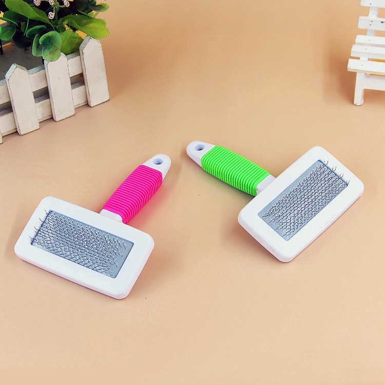 Pet Large Square Handle Anti-slip Comb Soft Handle with Protective Head Comb Pet Supplies