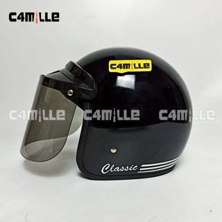 Kính bảo hộ mặt phẳng màu đen in logo CLASSIC GLOSS LIST WHITE FACE RETRO