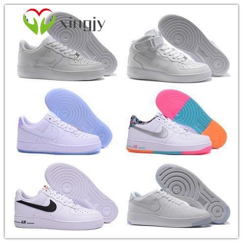 Nike Air Force 1 กลาง AF1 Air Force สีที่ตรงกัน 1 รองเท้าสเก็ตบอร์ด