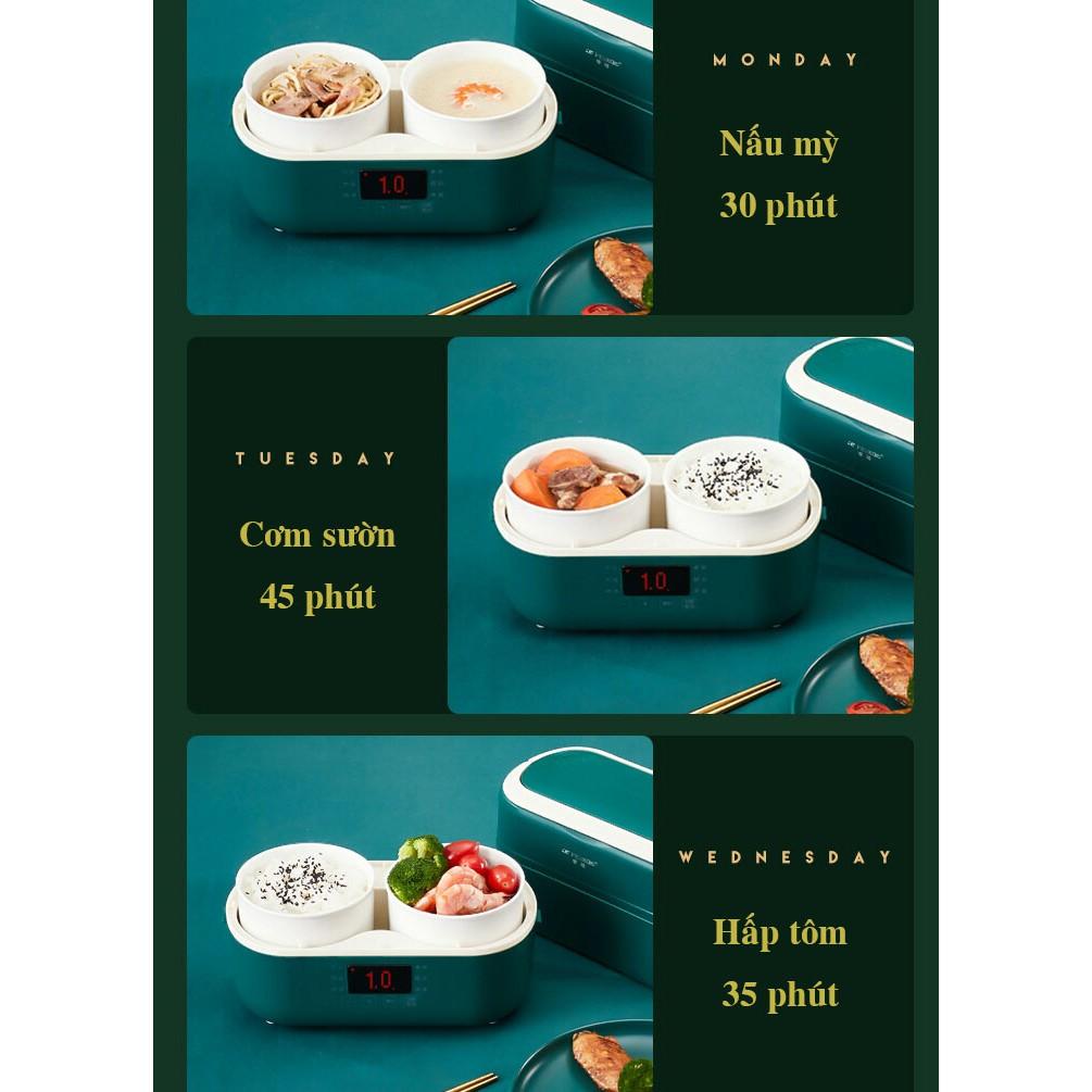 [HỘP CƠM THÔNG MINH 6 CHẾ ĐỘ - 2 LỚP] Hộp cơm cắm điện, nấu ăn thông minh Peskoe lõi sứ (Kèm túi đựng)