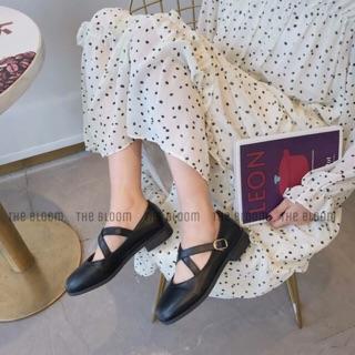 Giày bệt quai chéo mũi vuông - B01 (Ảnh thật, video)