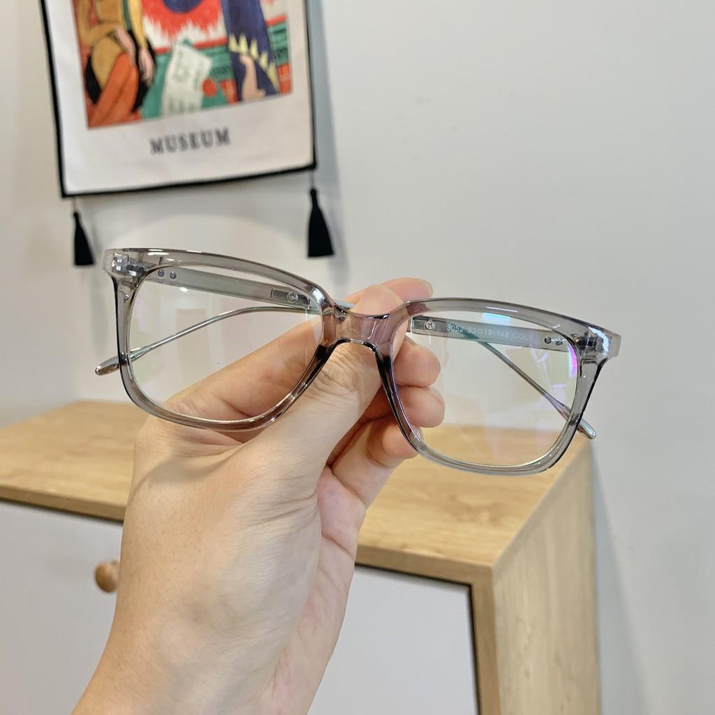 Gọng kính cận vuông M02 màu xám khói – Gọng kính mắt nhựa bền cực thời trang