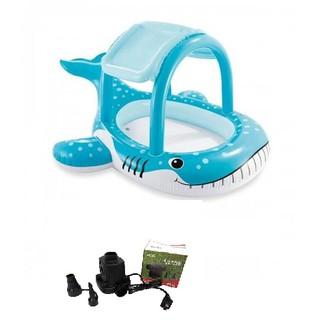 Bể bơi phao mái che cá cá voi xanh INTEX 57125 tặng bơm điện cao cấp electric , miếng vá