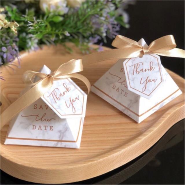 Set 50 hộp quà cưới kèm nơ & tag thank