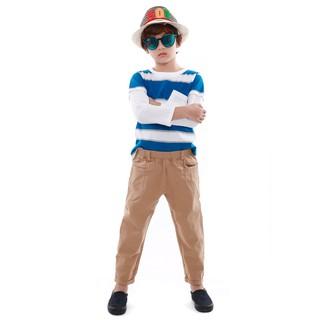 Bộ đông bé trai Narsis KE9081cổ tròn áo kẻ quần kaki vàng thumbnail