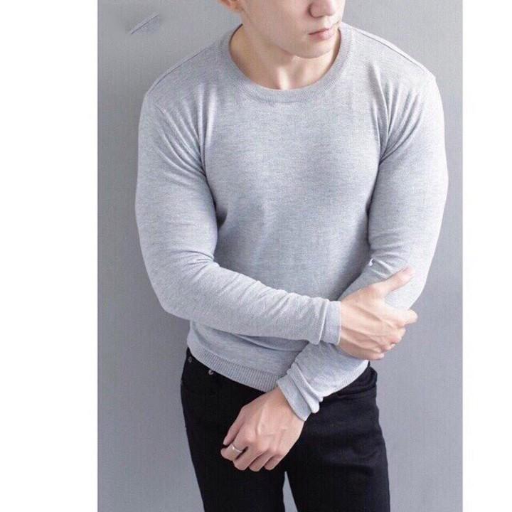 Áo len cổ tròn nam màu ghi sáng