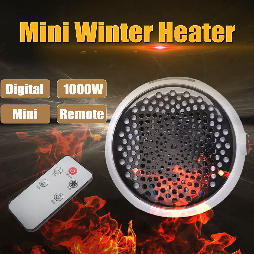 1000W Mini Electric Home Winter Heater Thermostat Air Warmer Fan Remote Control