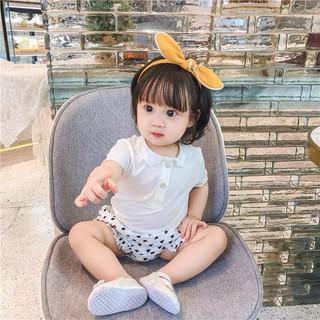 Áo phông bé gái, áo thun mát cổ bèo cho bé gái 0-3 tuổi màu trắng và hồng