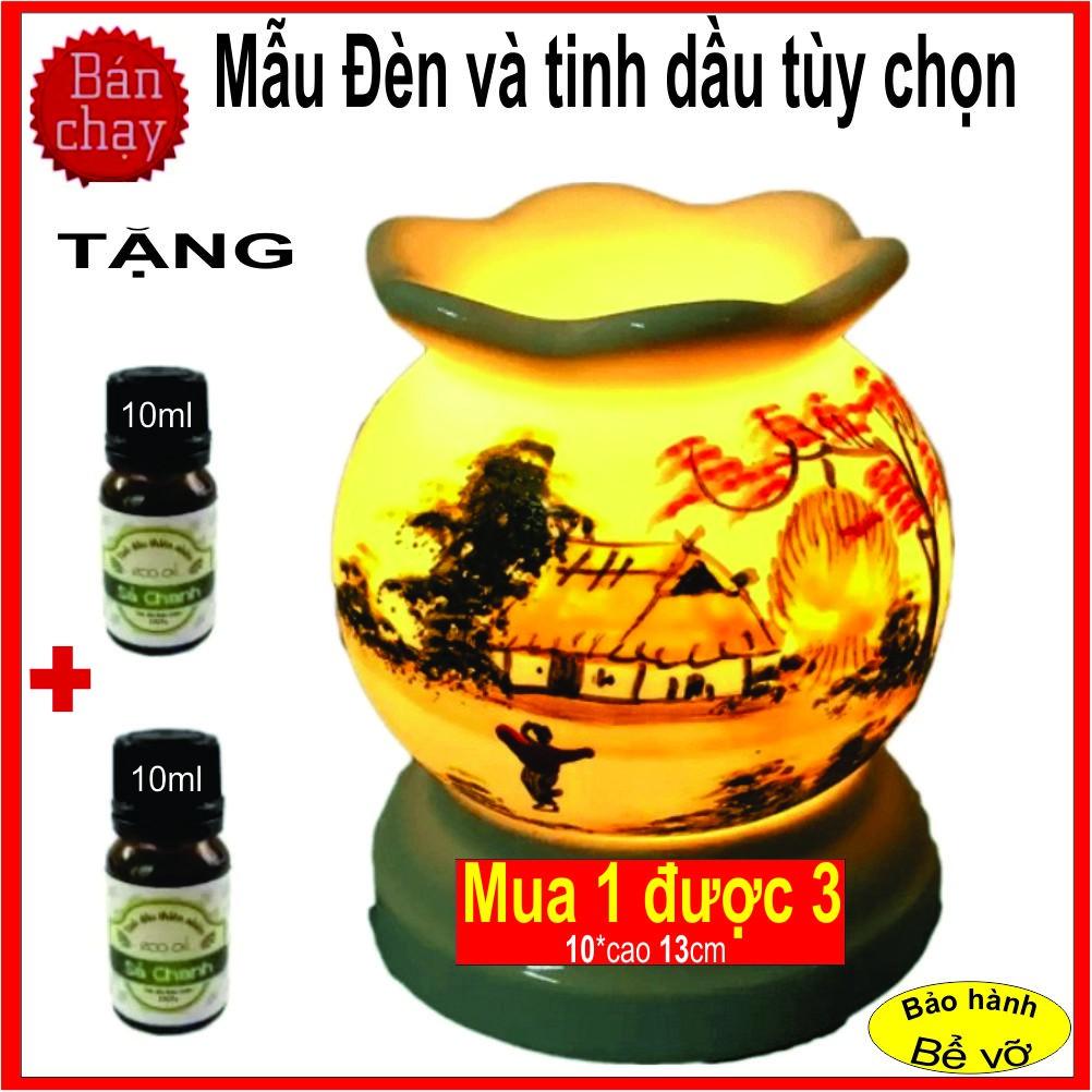 Chọn 14 Mùi (Mẫu tùy chọn) Đèn xông tinh dầu bát tràng +Tặng 02 chai tinh dầu 10ml