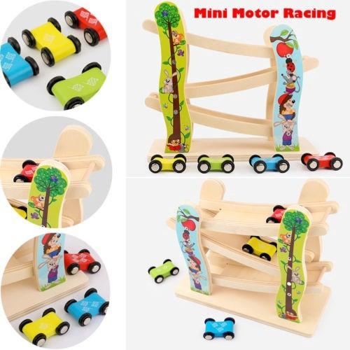 PL◇1 Set Roller Coaster Wooden 4 Carton Motor Racing Kids Educational Develop
