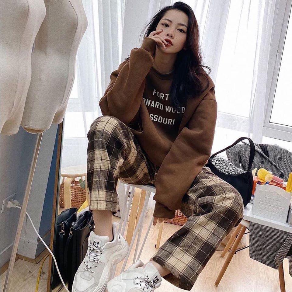 Quần Kẻ Sọc Caro Nâu Dáng Suông Phong Cách Hàn Quốc _ quần ống rộng kẻ caro nam nữ