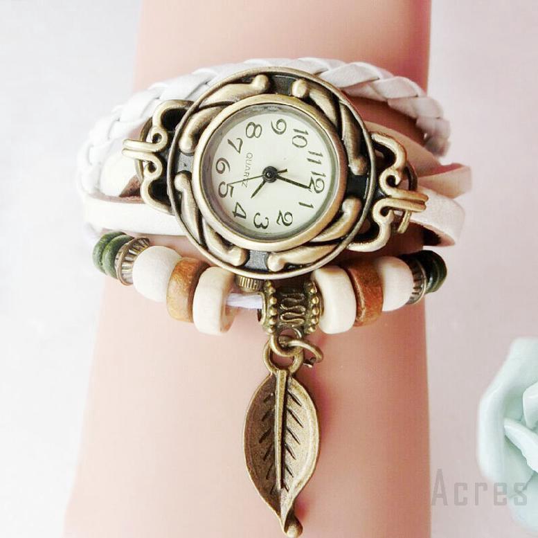 นาฬิกาแฟชั่นสุภาพสตรีเข็มขัดไขลานย้อนยุคแบบสบาย ๆ รุ่นคู่ 586