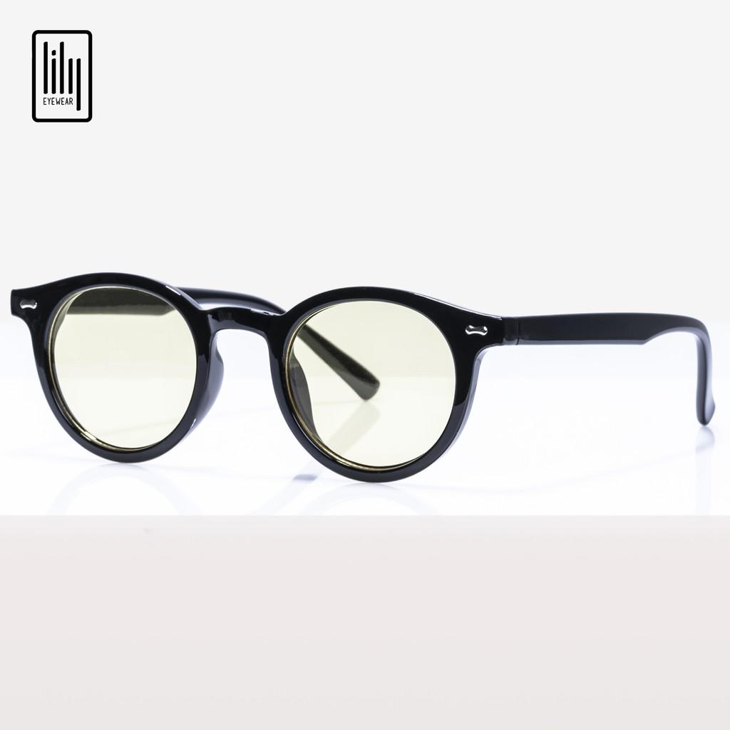 Gọng kính mát nữ Lilyeyewear mắt tròn nhỏ chống UV400 , chất liệu nhựa cứng cáp, màu sắc thời trang - 3388