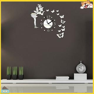 Đồng hồ dán tường mặt gương thiết kế xinh xắn tinh tế