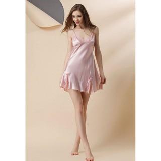 [ size42-58kg M] Váy ngủ satin lụa phối ren Ethena #AM105034