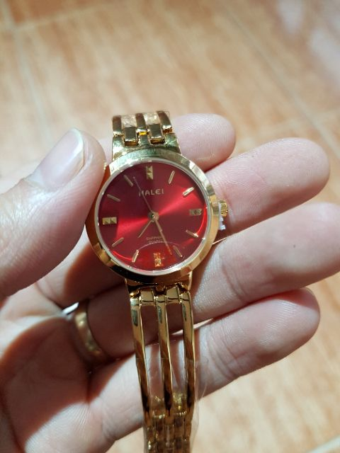 Đồng hồ nữ dây vàng mặt đỏ siêu đẹp thương hiệu halei