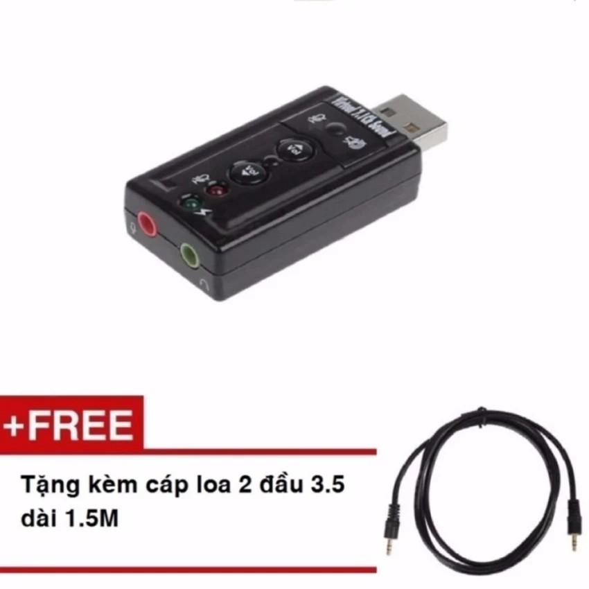 USB Sound 7.1 Tặng kèm cáp loa 2 đầu 3.5 dài 1.5M -dc237
