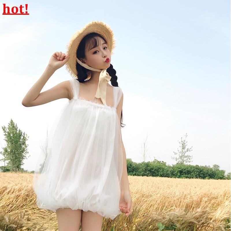 Super fairy strap mesh dress female 2019 summer new small fresh gentle strapless
