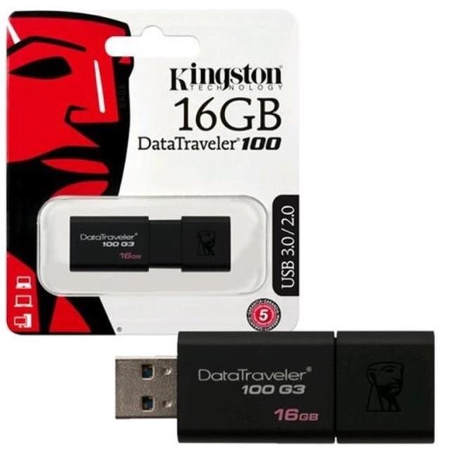 USB 3.0 Kingston DT100G3 16GB (Đen) - Kiểu trượt tiện dụng