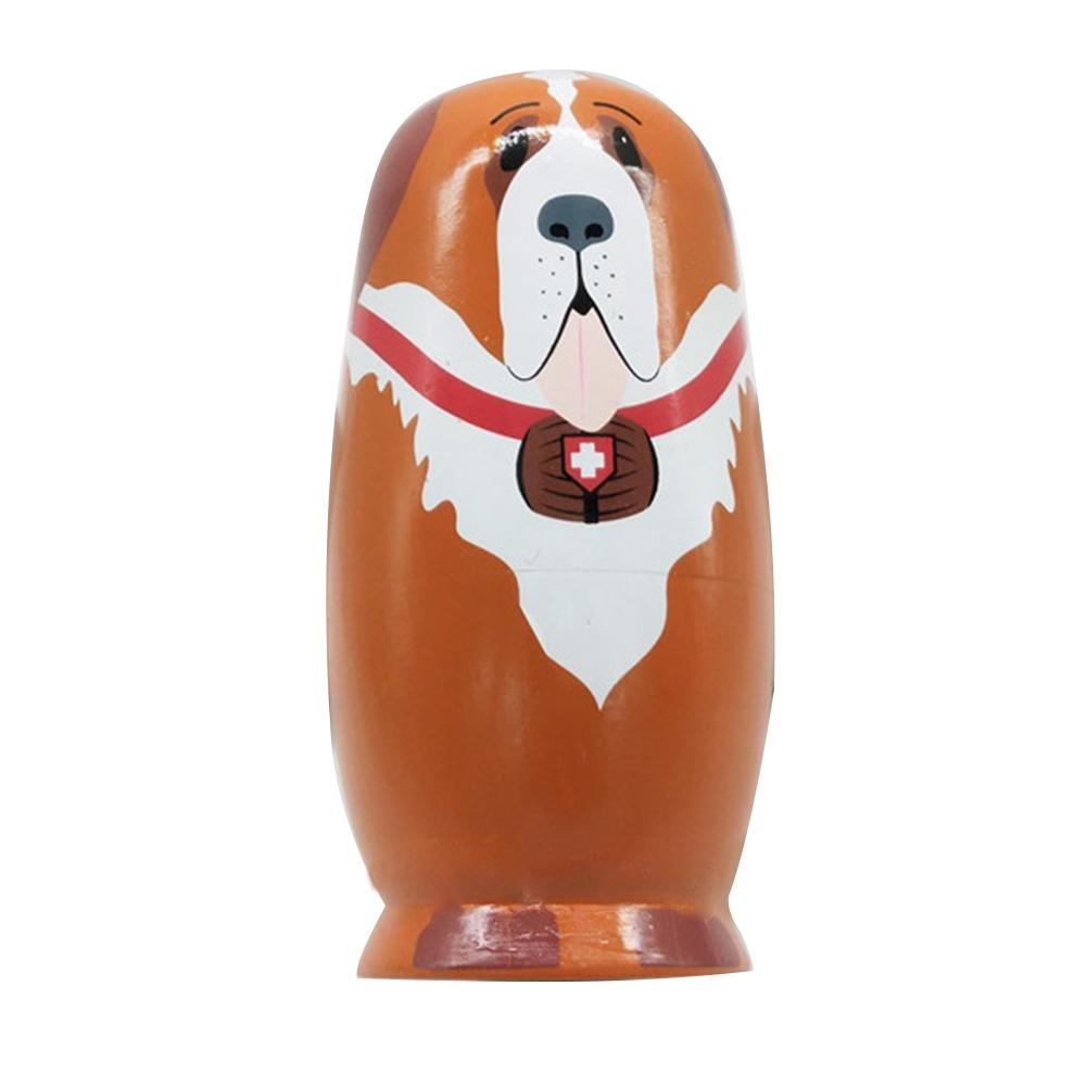 5 Layers Nesting Valentine Day Wooden Matryoshka Doll Best Wishes Dog Type Interactive Painting Arts Toy Cartoon Gift