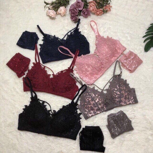 Bộ đồ lót ren đệm mỏng dây đan ngực sexy (5 màu) | SaleOff247