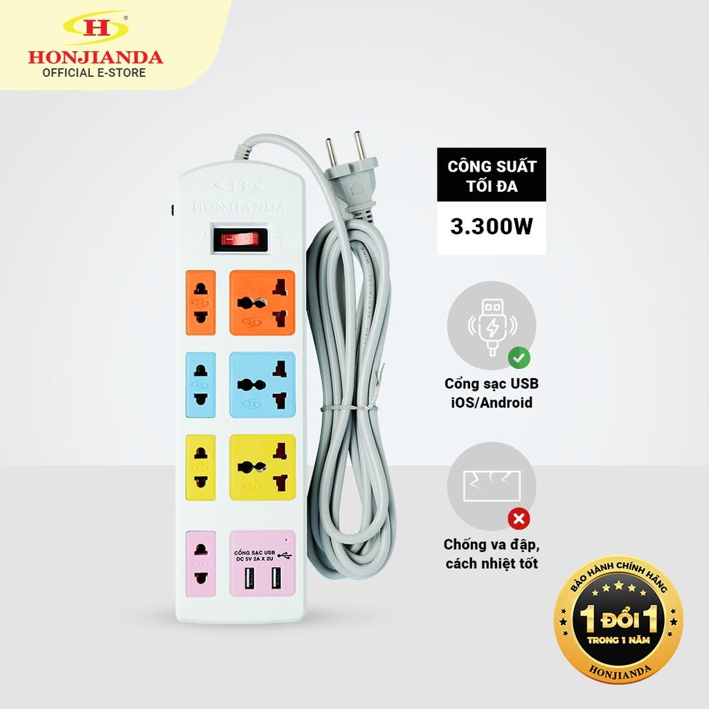 Ổ cắm điện đa năng Honjianda Có USB Mã 04 Dây 3m/5m - an toàn chống quá tải