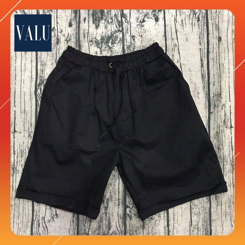 Quần short kaki paint màu đen trơn unisex - Quần short nam nữ cặp đôi Hàn Quốc dáng ngắn ống suông cá tính | Valu Store