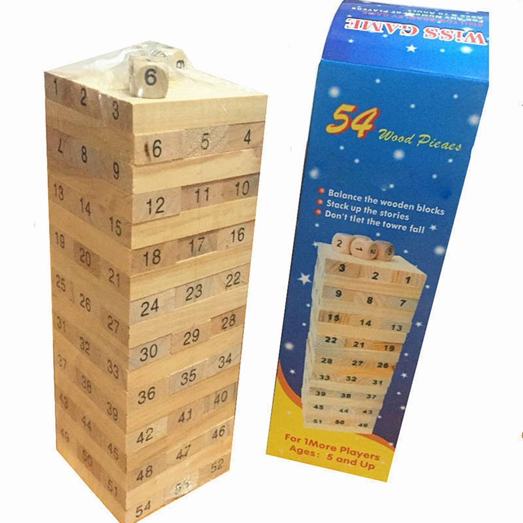 48PCS/Set Wooden Column Building Blocks Game Children Education Toy Number_FF86
