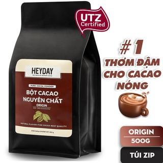 Túi zip 500g Bột cacao nguyên chất 100% không đường Heyday – Dòng Origin thượng hạng – Chuẩn UTZ Quốc Tế