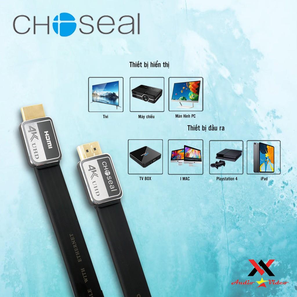 【Chính hãng】Dây Cáp HDMI CHOSEAL 2.0/4K , Hỗ trợ 3D, Cao Cấp tốc độ cao, loại dẹt 1,8m, 3m, 5m, 10m, tivi, máy tính