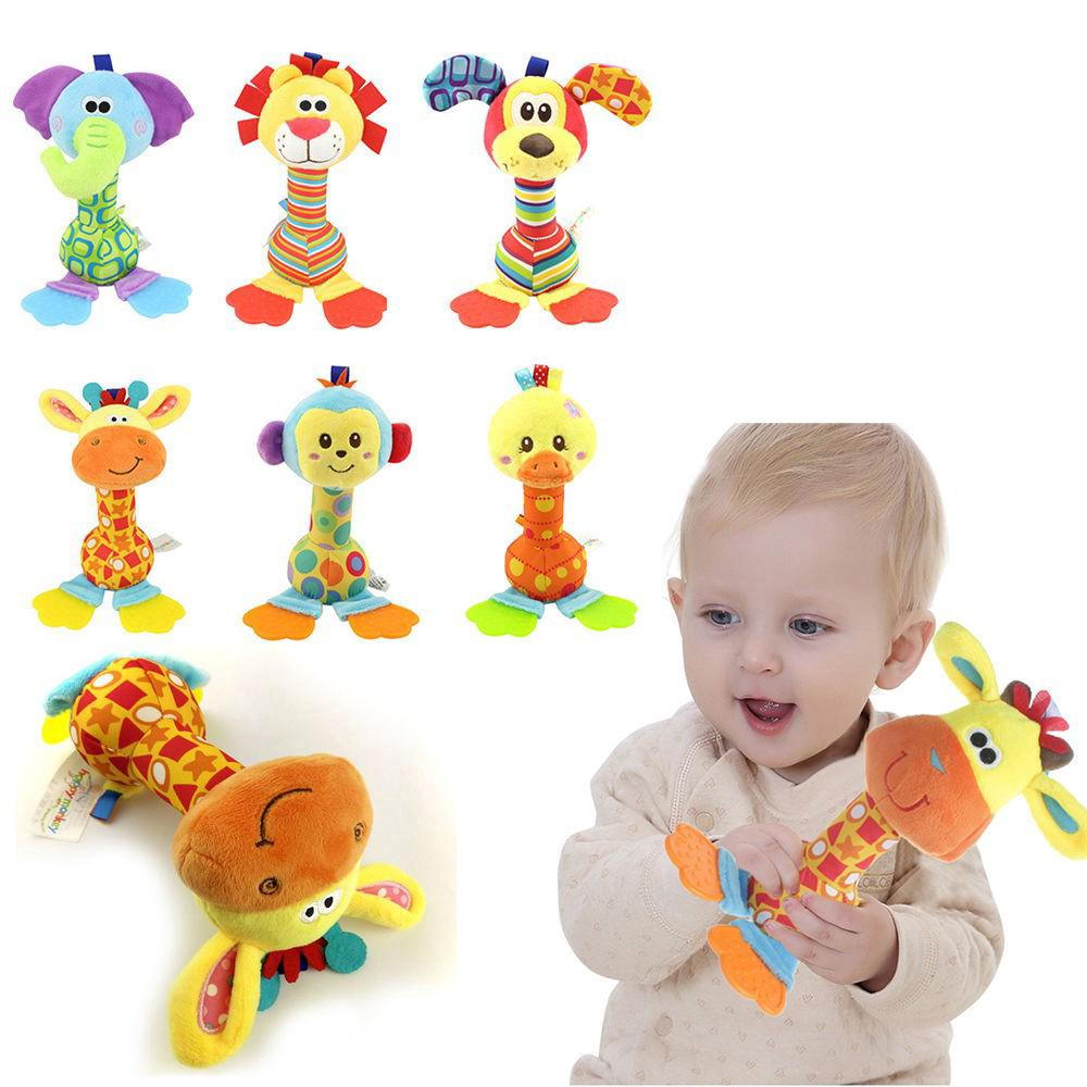 Soft Sound Animal Handbells plush Squeeze Rattle For Newborn Baby Toy Gifts